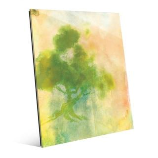 Chartreuse Sumi Tree Glass Wall Art Print