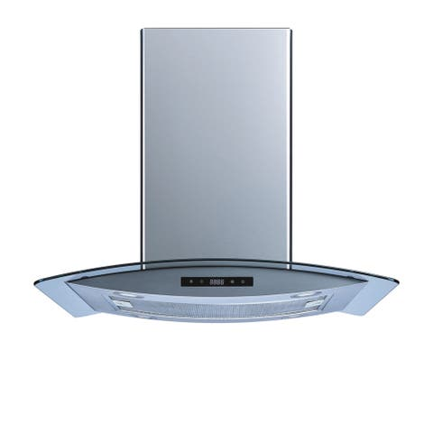 Winflo O-WH102B36 36-inch 520 CFM Stainless Steel/Tempered Glass Convertible Island Range Hood