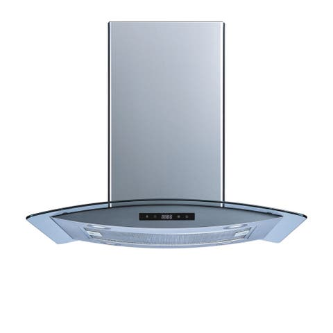 Winflo O-WH102B30 30-inch Stainless Steel/Tempered Glass Convertible Island Range Hood