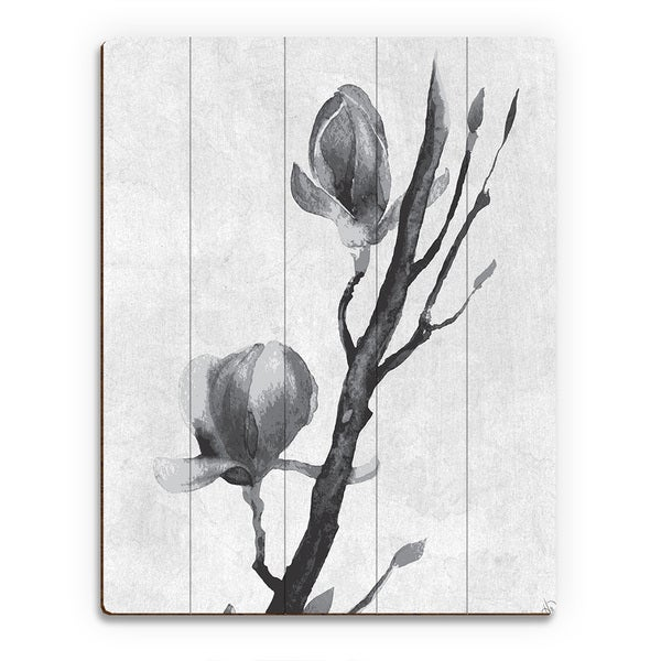 Flowers on a Vine Wood Wall Art Print