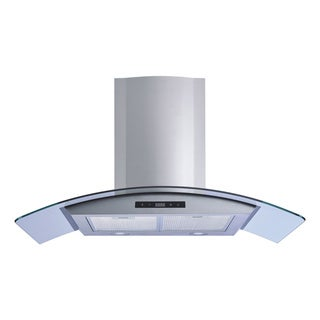 Winflo O-W101B36 36-inch Stainless Steel/Tempered Glass Convertible Wall Mount Range Hood