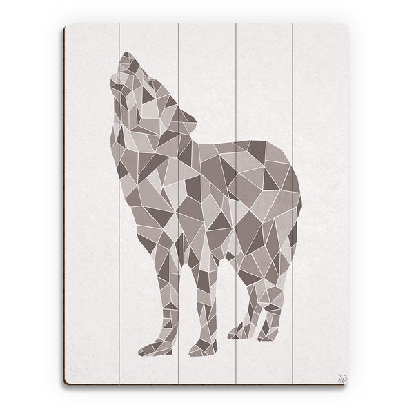 Crystal Wolf on White Wall Art Print on Wood
