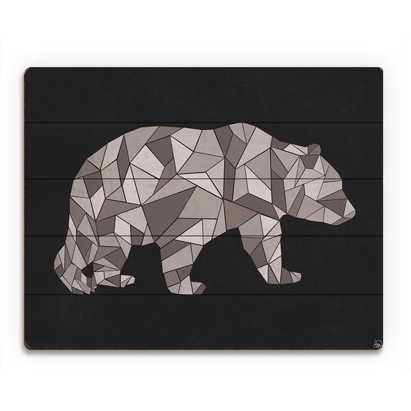 'Crystal Bear on Black' Wood Wall Art Print