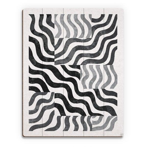 'Faded Blocked Zebra' Wall Art Print on Wood