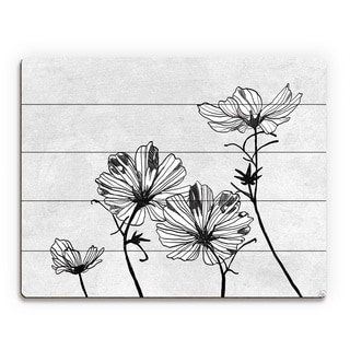 White Flowers Wood Wall Art Print