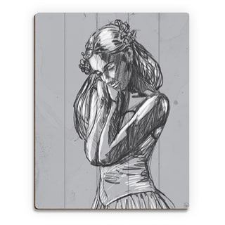 'Dancer' Sketch on Grey Wall Art Print on Wood
