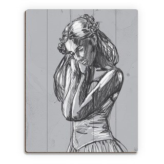 'Dancer' Sketch on Grey Wall Art Print on Wood