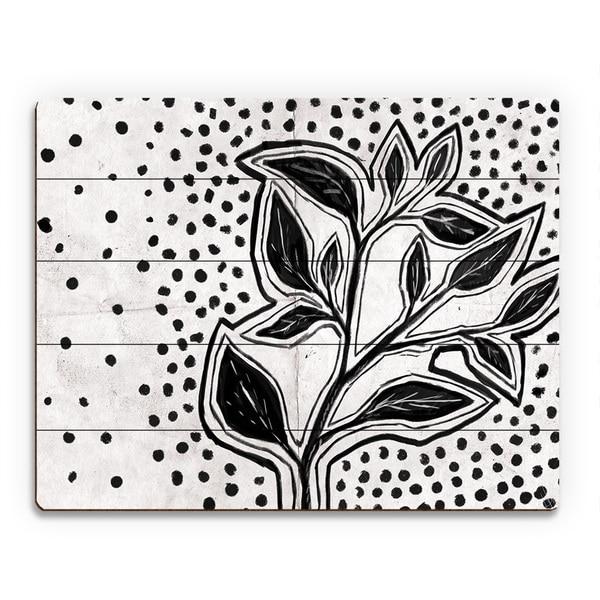 'Plants and Polka Dots' Wood Wall Art Print