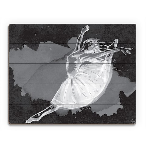 'Ballet Dancer on Black' Wood Wall Art