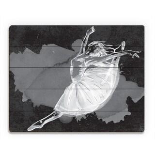 'Ballet Dancer on Black' Wood Wall Art
