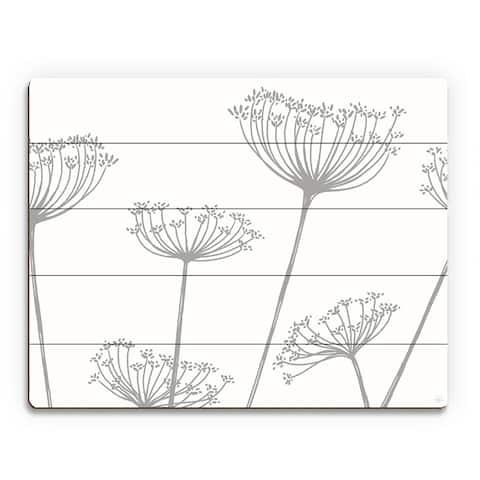 Kathy Ireland 'Meadow Flowers' Grey on White Wall Art Print on Wood