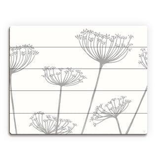 'Meadow Flowers' Grey on White Wall Art Print on Wood