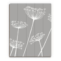 Meadow Flowers White and Grey Wood Wall Art Print