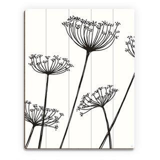 'Meadow Flowers' Black on White Wood Wall Art