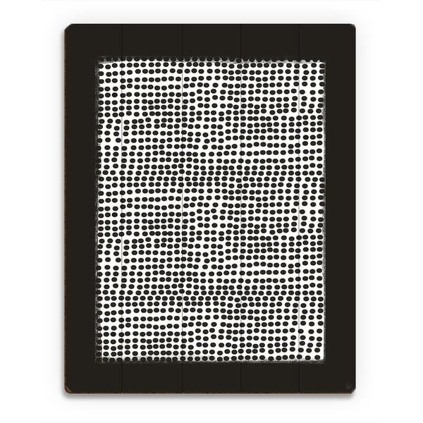 'Pegboard' White on Black Wood Wall Art Print