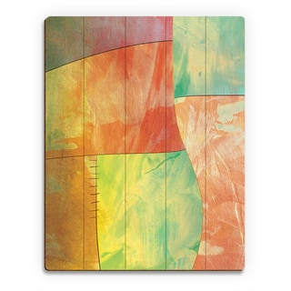 Amber Chartreuse Multicolored Wood Patchwork Wall Art