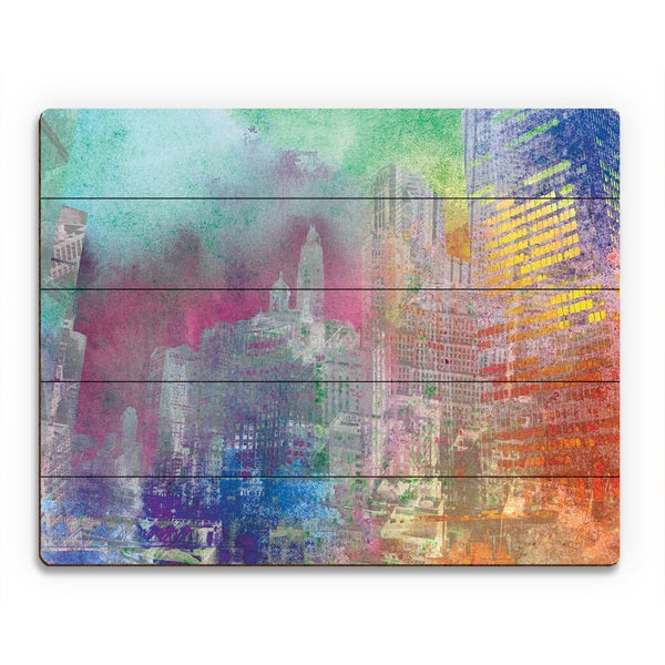 Splatter City Teal Skies Wood Wall Art Print