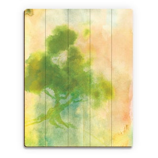 'Chartreuse Sumi Tree' Wood Print Wall Art