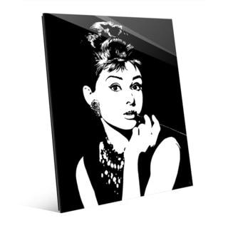 'Audrey Hepburn' White on Black Wall Art on Acrylic