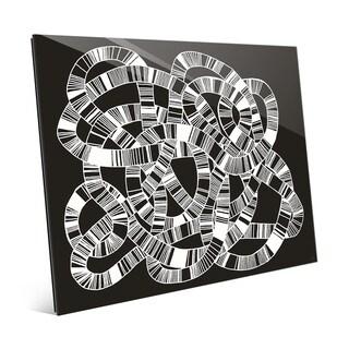 'Striped Knot' White on Black Acrylic Wall Art