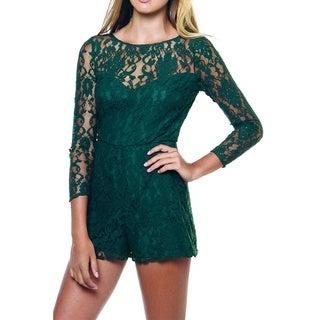 BB Dakota Dasha Hunter Green Lace Romper