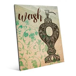 'Wash Emerald Floral' Acrylic Print Wall Art