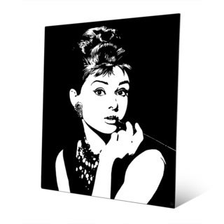 Audrey Hepburn B&W Graphic Wall Art Print on Metal