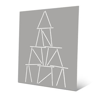 Card Tower White on Grey Wall Art Print on Metal