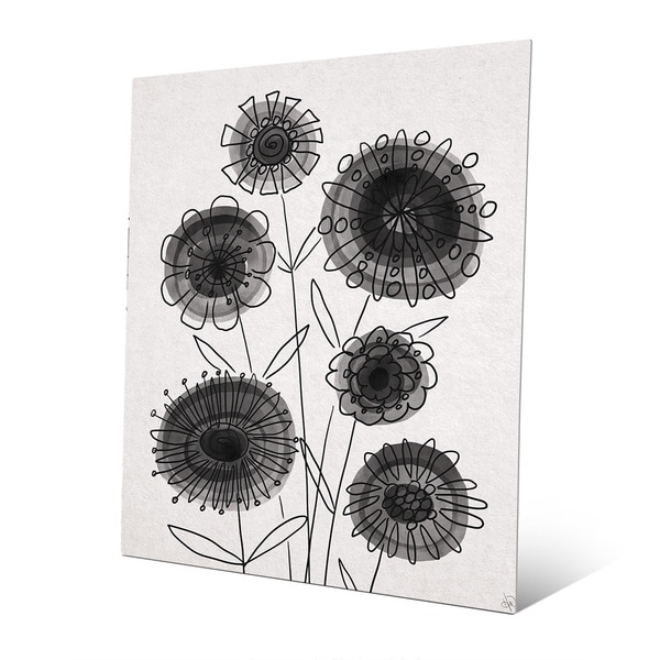 Floral Contrast Black on White Wall Art Print on Metal