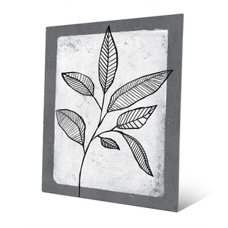 Striped Leaves on White Print Metal Wall Art