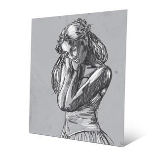 Dancer Sketch on Grey Metal Print Wall Art