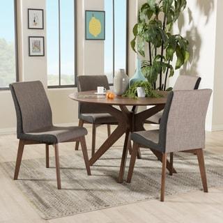 Baxton Studio Mid-Century Medium Brown Wood Round 5-Piece Dining Set