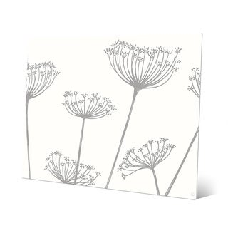 'Meadow Flowers' Grey on White Metal Wall Art