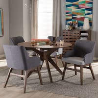 Baxton Studio Mid-Century Medium Brown Wood Round 5-Piece Dining Set
