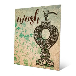Wash Emerald Floral Wall Art Print on Metal