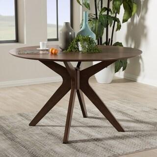 Baxton Studio Mid-Century Medium Brown Wood 47-Inch Round Dining Table
