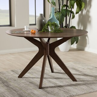 Baxton Studio Mid Century Medium Brown Wood 47 Inch Round Dining Table