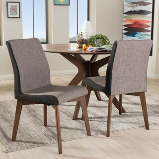 Baxton Studio Mid-Century Beige and Brown Fabric 2-Piece Dining Chair Set