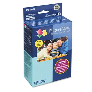 Epson T5845M (T5845-M) PictureMate 200 Print Pack Tri-Color Ink & Matte Photo Paper