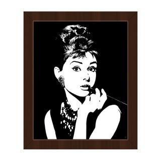Audrey Hepburn White/Black Canvas Framed Wall Art