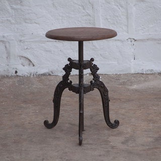 Regina Brown Reclaimed Teak and Cast Iron Adjusting Stool