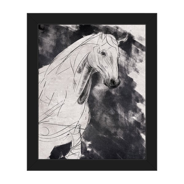 Sketchy Horse\' Canvas Right Framed Wall Art Print - Free Shipping ...