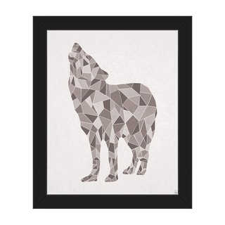 'Crystal Wolf On White' Canvas Framed Wall Art Print
