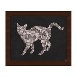 'Crystal Cat' on Black Framed Canvas Wall Art Print