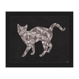 Crystal Cat on Black Framed Canvas Wall Art Print