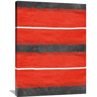 Naxart Studio 'Grey and Red Abstract 3' Stretched Canvas Wall Art
