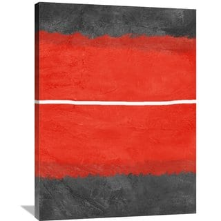 Naxart Studio 'Grey And Red Abstract 2' Stretched Canvas Wall Art