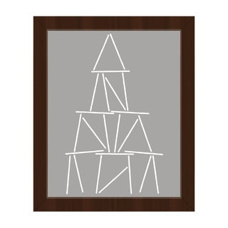 'Card Tower White on Grey' Framed Canvas Wall Art