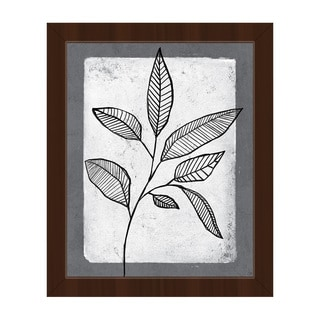 Striped Leaves on White Framed Canvas Wall Art
