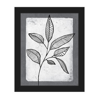 'Striped Leaves' on White Framed Canvas Wall Art